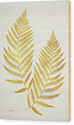 Wood Print featuring the mixed media Gold Fern Leaf Art by Christina Rollo