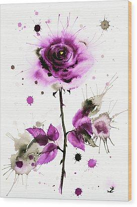 Gold Heart Of The Rose Wood Print by Zaira Dzhaubaeva