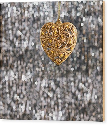 Wood Print featuring the photograph Gold Heart  by Ulrich Schade