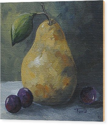 Gold Pear With Grapes  Wood Print