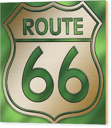 Wood Print featuring the digital art Gold Route 66 Sign by Chuck Staley