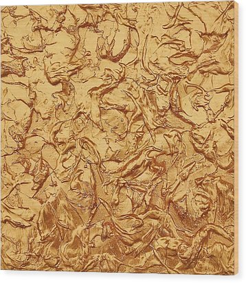 Gold Waves Wood Print