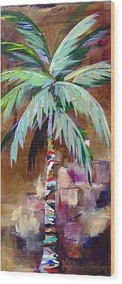 Golden Amethyst Palm Wood Print by Kristen Abrahamson