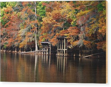 Wood Print featuring the digital art Golden Bayou by Lana Trussell