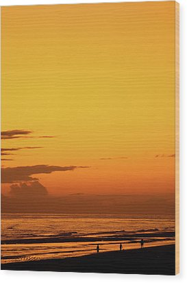 Golden Beach Sunset Wood Print