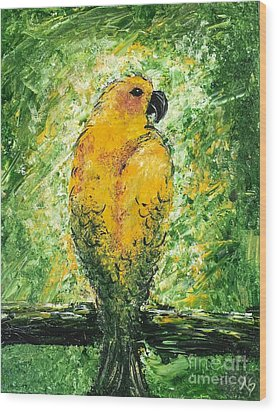 Golden Bird Wood Print