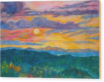 Golden Blue Ridge Sunset Wood Print by Kendall Kessler