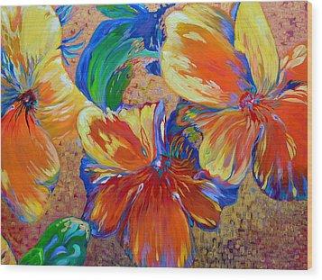 Golden Boiled Flowers Wood Print