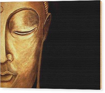 Golden Buddah Wood Print