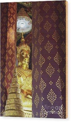 Golden Buddha Wood Print by Buchachon Petthanya