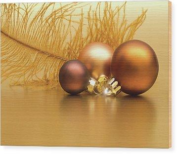 Golden Christmas Wood Print by Wim Lanclus