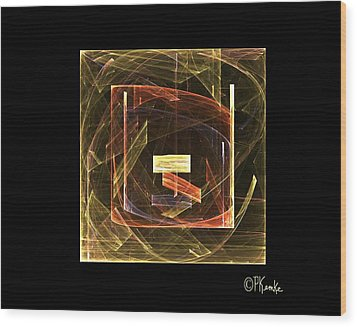Golden Cube Wood Print