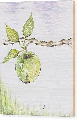 Golden Delishous Apple Wood Print