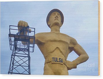 Golden Driller 76 Feet Tall Wood Print
