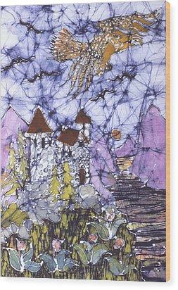 Golden Eagle Flies Above Castle Wood Print by Carol  Law Conklin