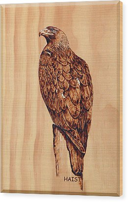 Wood Print featuring the pyrography Golden Eagle by Ron Haist