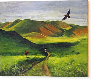 Wood Print featuring the painting Golden Eagles On Green Grassland by Suzanne McKee