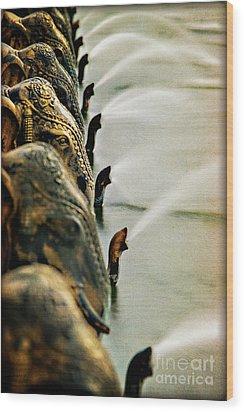 Golden Elephant Fountain Wood Print
