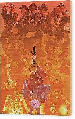 Golden Era Icons Collage 1 Wood Print by Nelson dedos Garcia