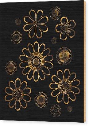 Golden Flowers Wood Print by Frank Tschakert