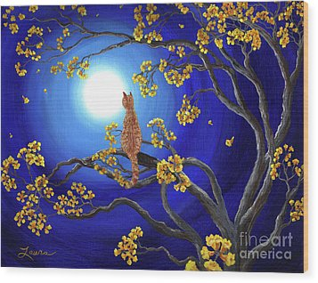 Golden Flowers In Moonlight Wood Print