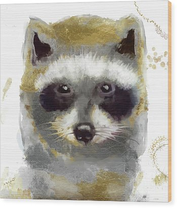 Golden Forest Raccoon  Wood Print