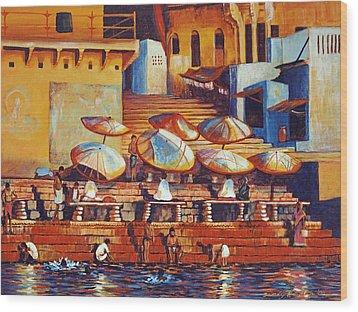 Golden Ganges Wood Print