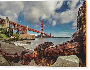 Wood Print featuring the photograph Golden Gate Bridge And Ft Point by Bill Gallagher