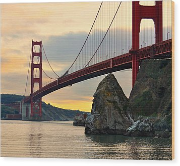 Golden Gate Bridge At Sunset Wood Print by Pamela Rose Hawken