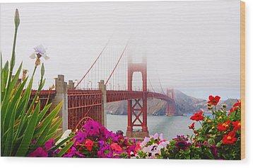 Golden Gate Bridge Flowers 2 Wood Print