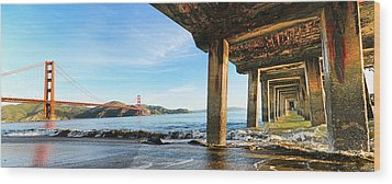Wood Print featuring the photograph Golden Gate Bridge From Under Fort Point Pier by Steve Siri