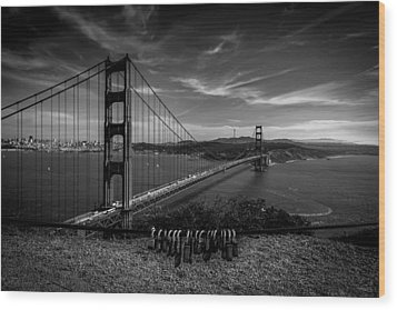 Golden Gate Bridge Locks Of Love Wood Print