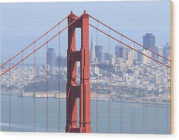 Golden Gate Bridge Wood Print by Lou Ford