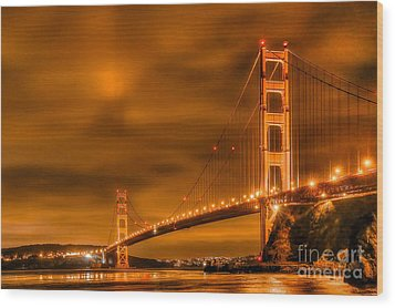 Wood Print featuring the photograph Golden Gate Bridge - Nightside by Jim Carrell
