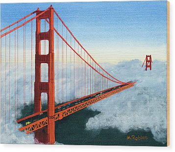 Golden Gate Bridge Sunset Wood Print by Mike Robles