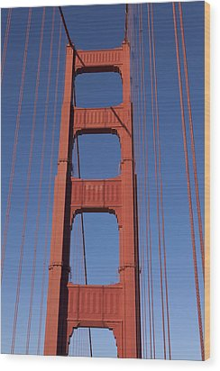Golden Gate Bridge Tower Wood Print by Garry Gay