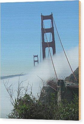 Golden Gate Bridge Towers In The Fog Wood Print by Bonnie Muir