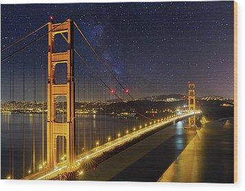 Golden Gate Bridge Under The Starry Night Sky Wood Print by David Gn