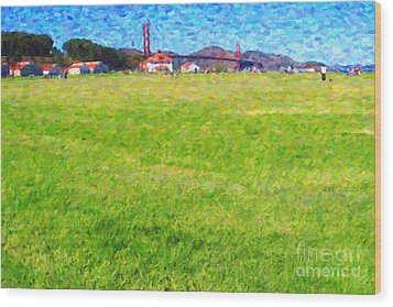 Golden Gate Bridge Viewed From Crissy Fields Wood Print by Wingsdomain Art and Photography