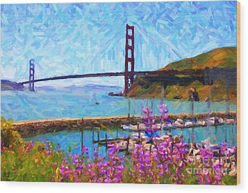 Golden Gate Bridge Viewed From Fort Baker Wood Print by Wingsdomain Art and Photography