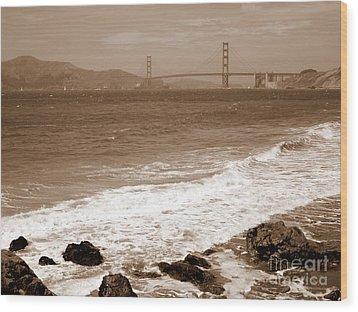 Golden Gate Bridge With Shore - Sepia Wood Print by Carol Groenen