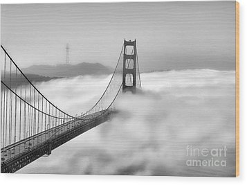 Golden Gate Bw Fog Wood Print by Chuck Kuhn