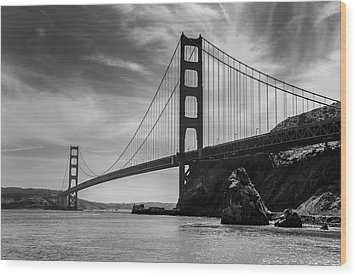 Golden Gate East Bw Wood Print