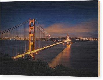 Golden Gate Wood Print by Edgars Erglis