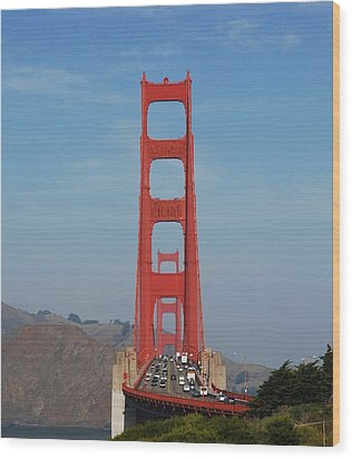 Golden Gate Head On Wood Print