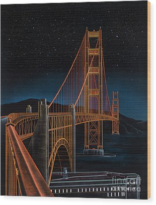 Golden Gate Wood Print by Lynette Cook