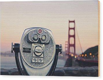 Golden Gate Sunset - San Francisco California Photography Wood Print