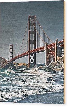 Golden Gate Surf Wood Print by Dennis Cox WorldViews