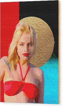 Wood Print featuring the digital art Golden Girl No. 2 by Serge Averbukh