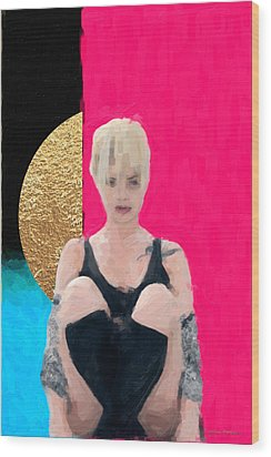 Wood Print featuring the digital art Golden Girl No. 3 by Serge Averbukh